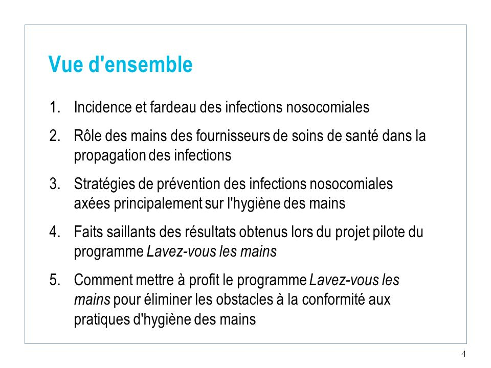 Vue d ensemble Incidence et fardeau des infections nosocomiales