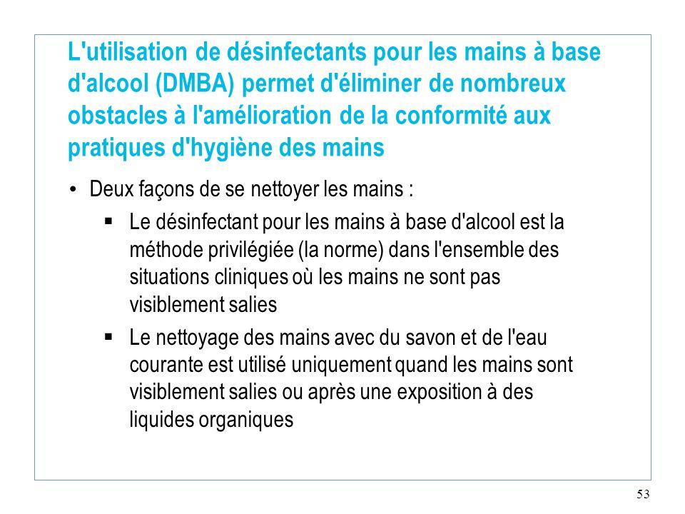 L utilisation de désinfectants pour les mains à base d alcool (DMBA) permet d éliminer de nombreux obstacles à l amélioration de la conformité aux pratiques d hygiène des mains