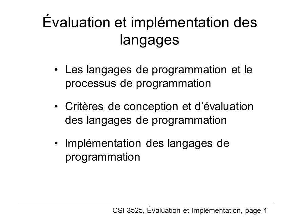 Évaluation et implémentation des langages