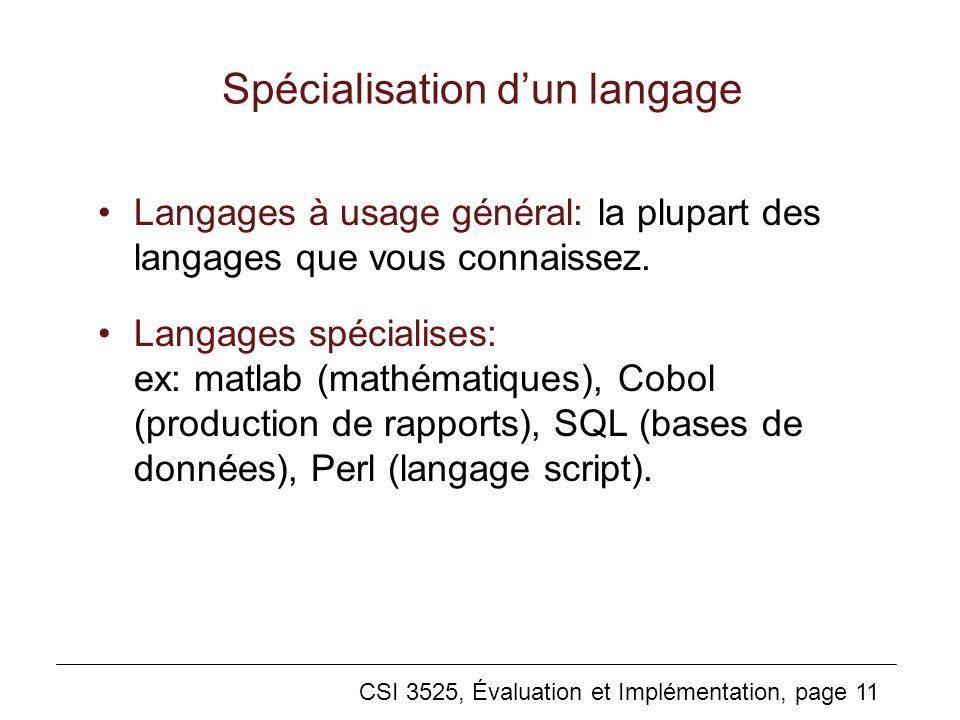 Spécialisation d'un langage