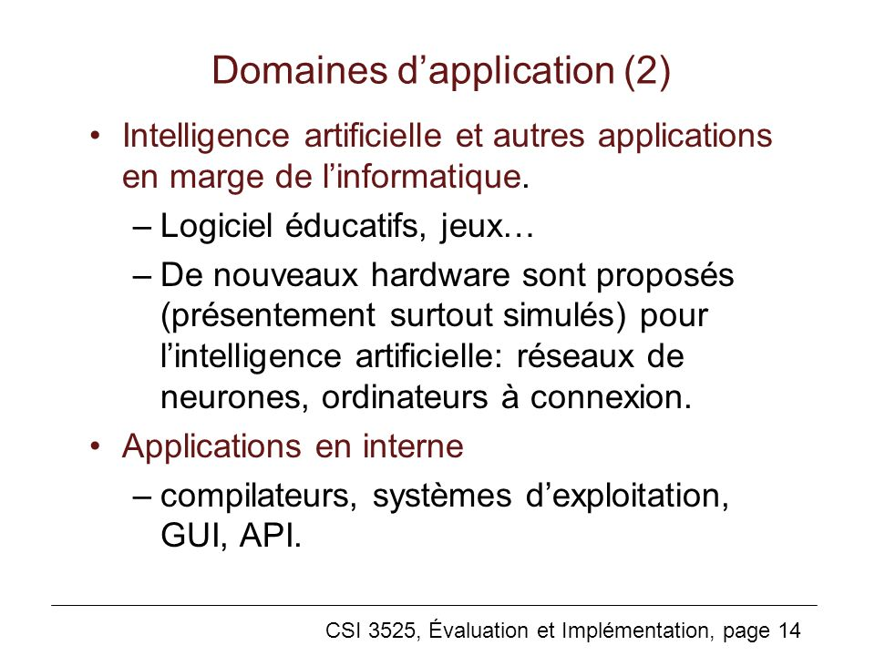 Domaines d'application (2)