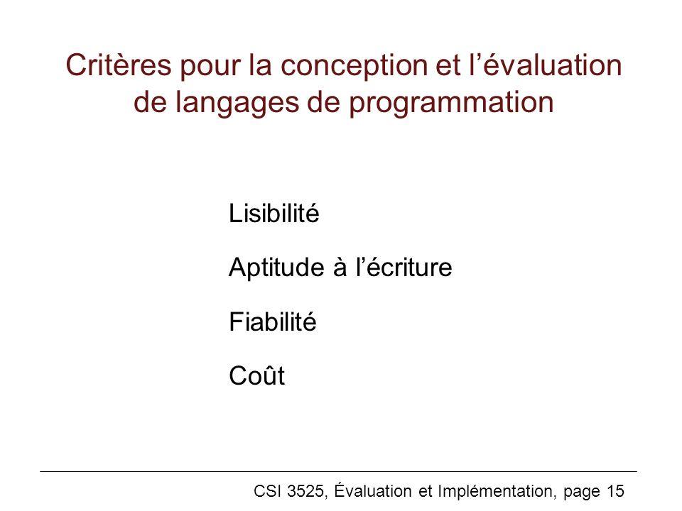 Critères pour la conception et l'évaluation de langages de programmation