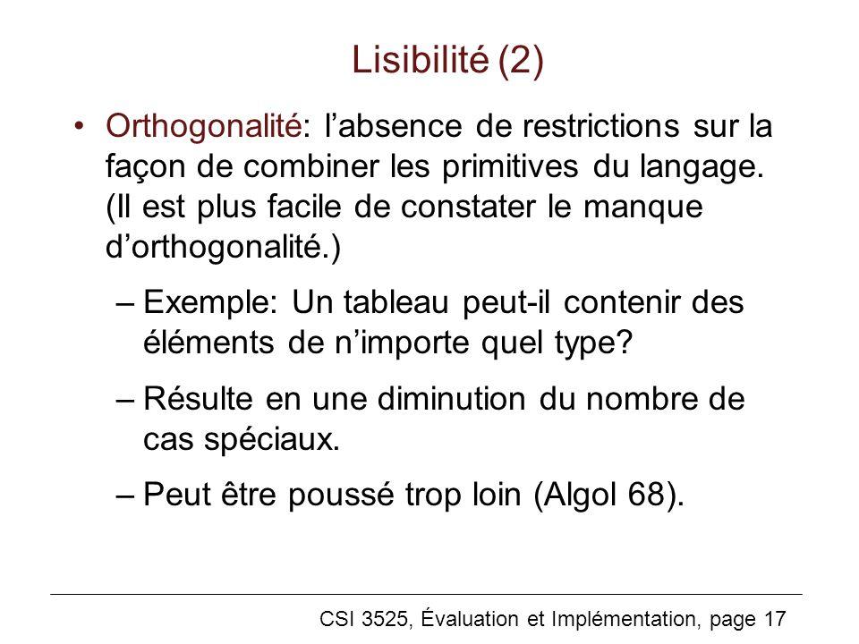 Lisibilité (2)
