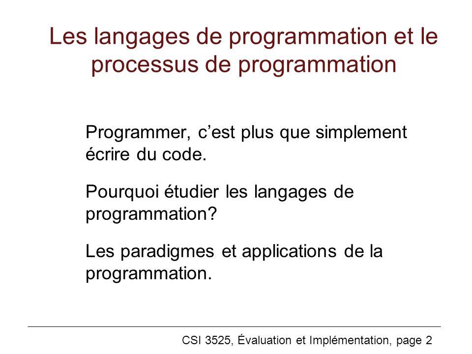 Les langages de programmation et le processus de programmation