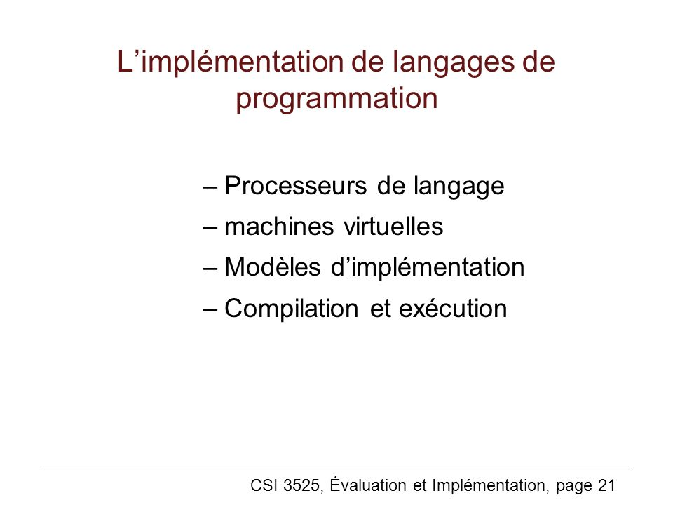 L'implémentation de langages de programmation