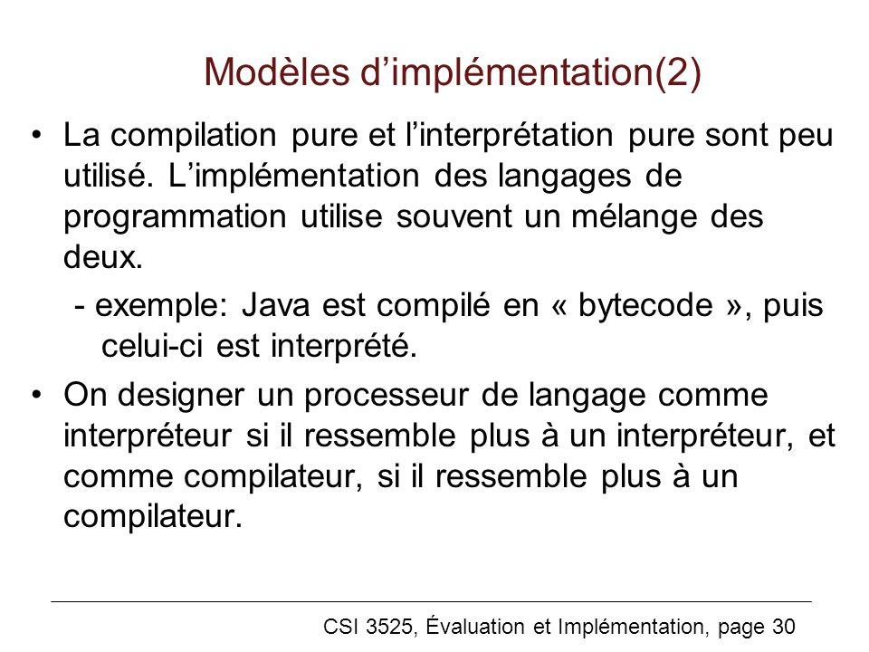 Modèles d'implémentation(2)
