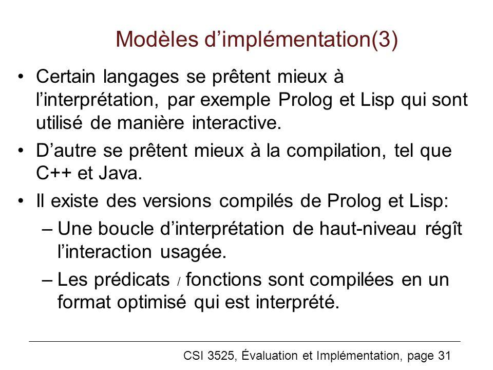 Modèles d'implémentation(3)