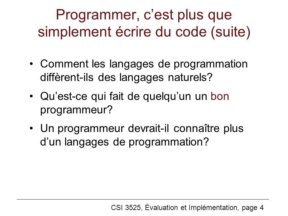 Programmer, c'est plus que simplement écrire du code (suite)