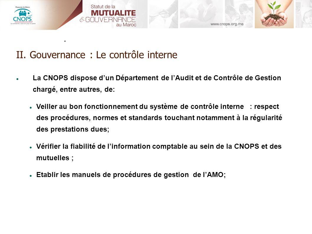 II. Gouvernance : Le contrôle interne