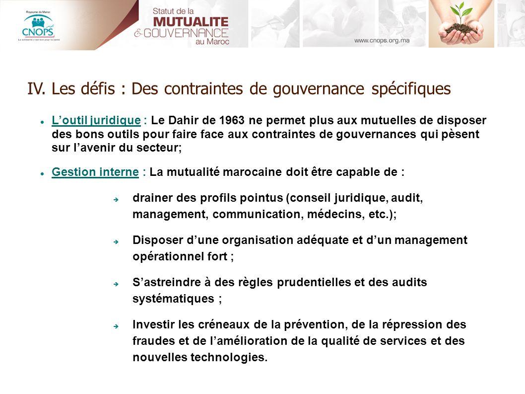 IV. Les défis : Des contraintes de gouvernance spécifiques