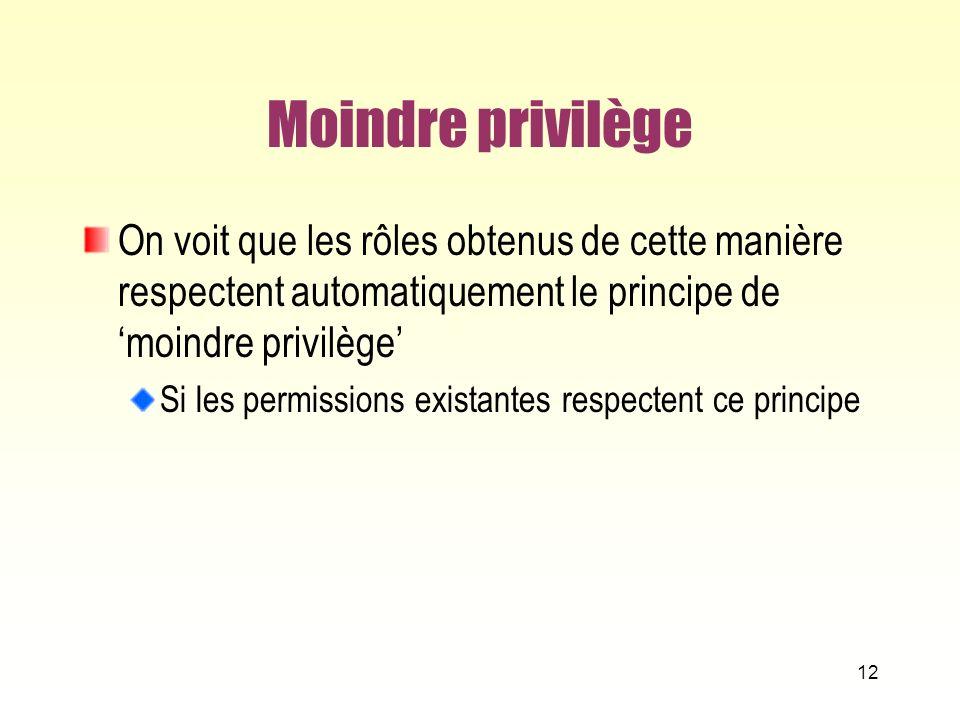 Moindre privilège On voit que les rôles obtenus de cette manière respectent automatiquement le principe de 'moindre privilège'