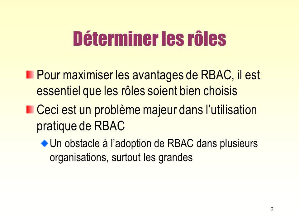 Déterminer les rôles Pour maximiser les avantages de RBAC, il est essentiel que les rôles soient bien choisis.