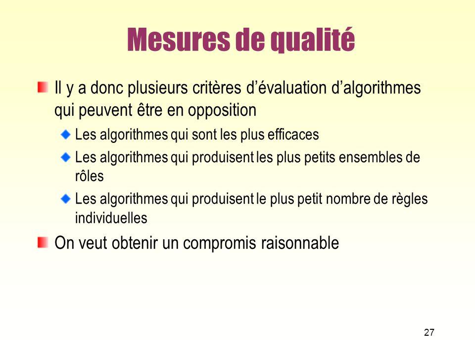 Mesures de qualité Il y a donc plusieurs critères d'évaluation d'algorithmes qui peuvent être en opposition.