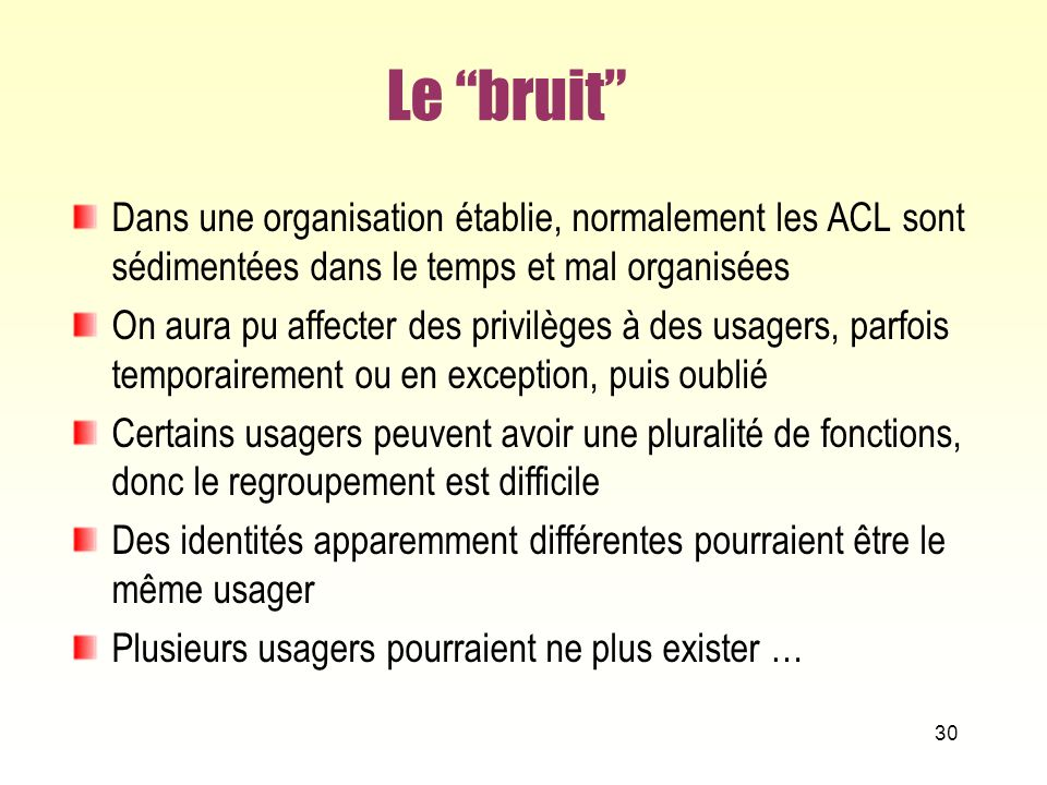 Le bruit Dans une organisation établie, normalement les ACL sont sédimentées dans le temps et mal organisées.
