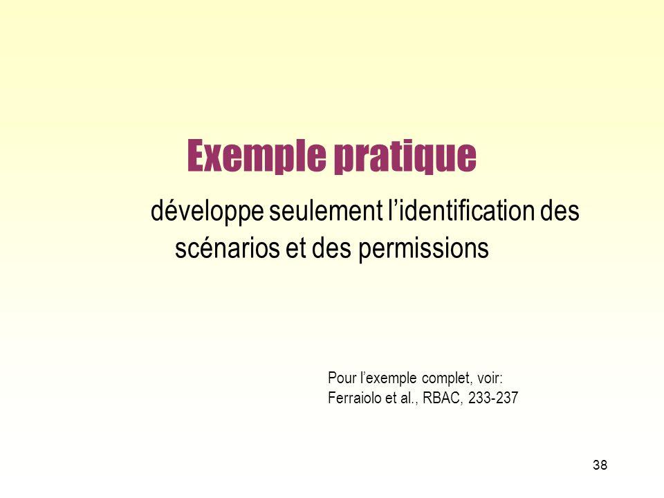 Exemple pratique développe seulement l'identification des scénarios et des permissions
