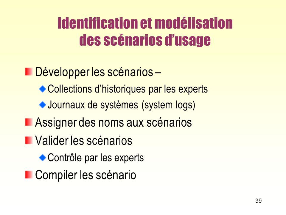 Identification et modélisation des scénarios d'usage