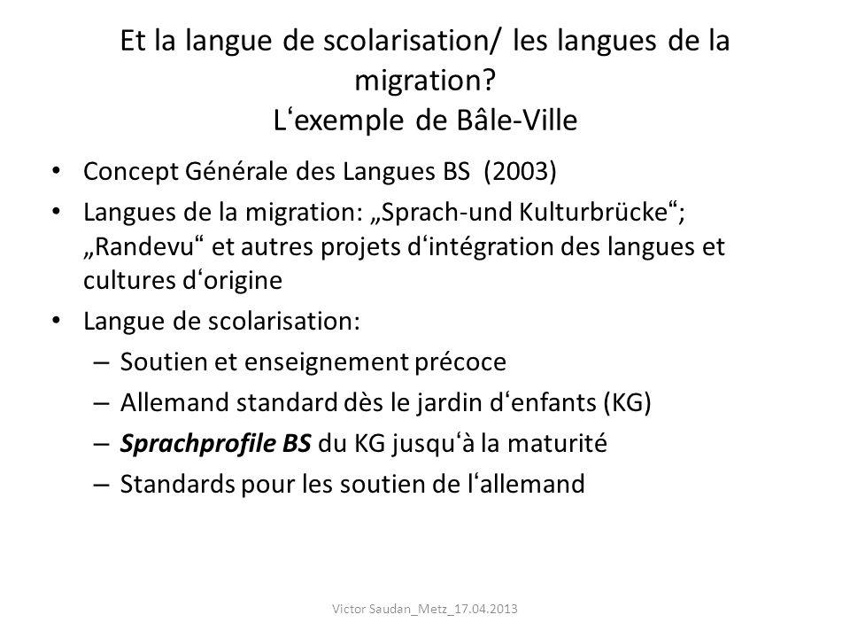 Et la langue de scolarisation/ les langues de la migration