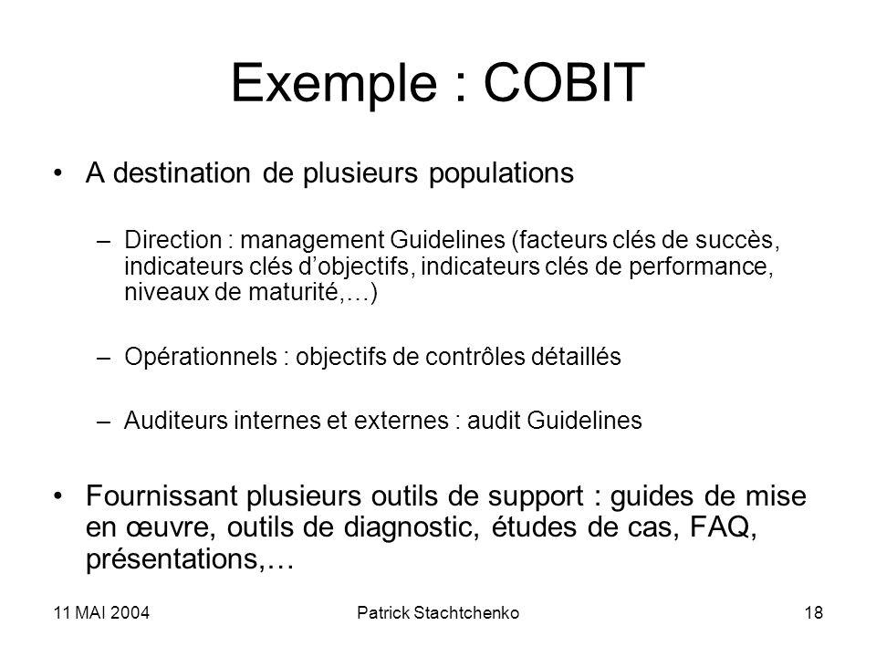 Exemple : COBIT A destination de plusieurs populations