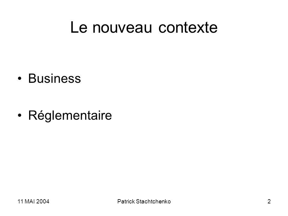 Le nouveau contexte Business Réglementaire 11 MAI 2004
