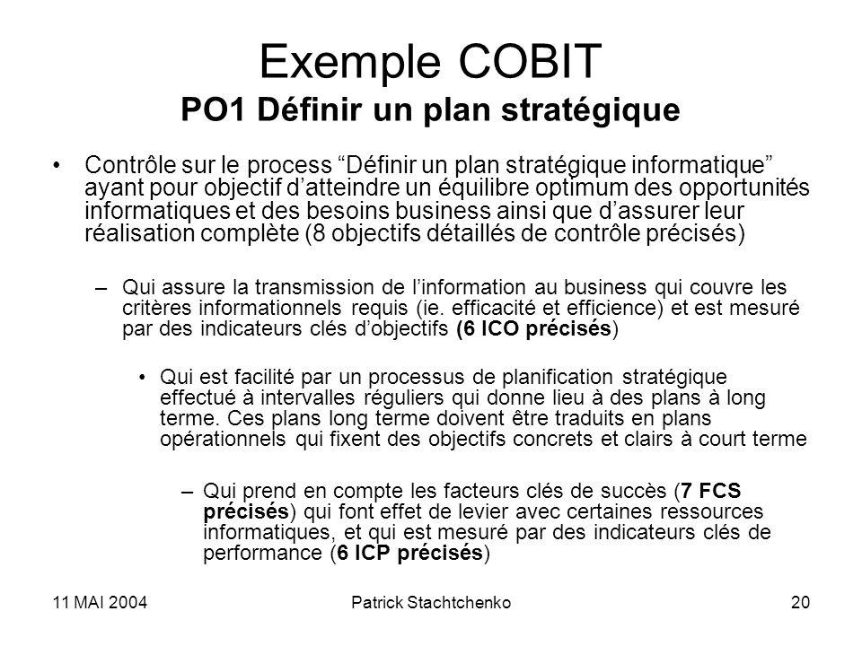 Exemple COBIT PO1 Définir un plan stratégique