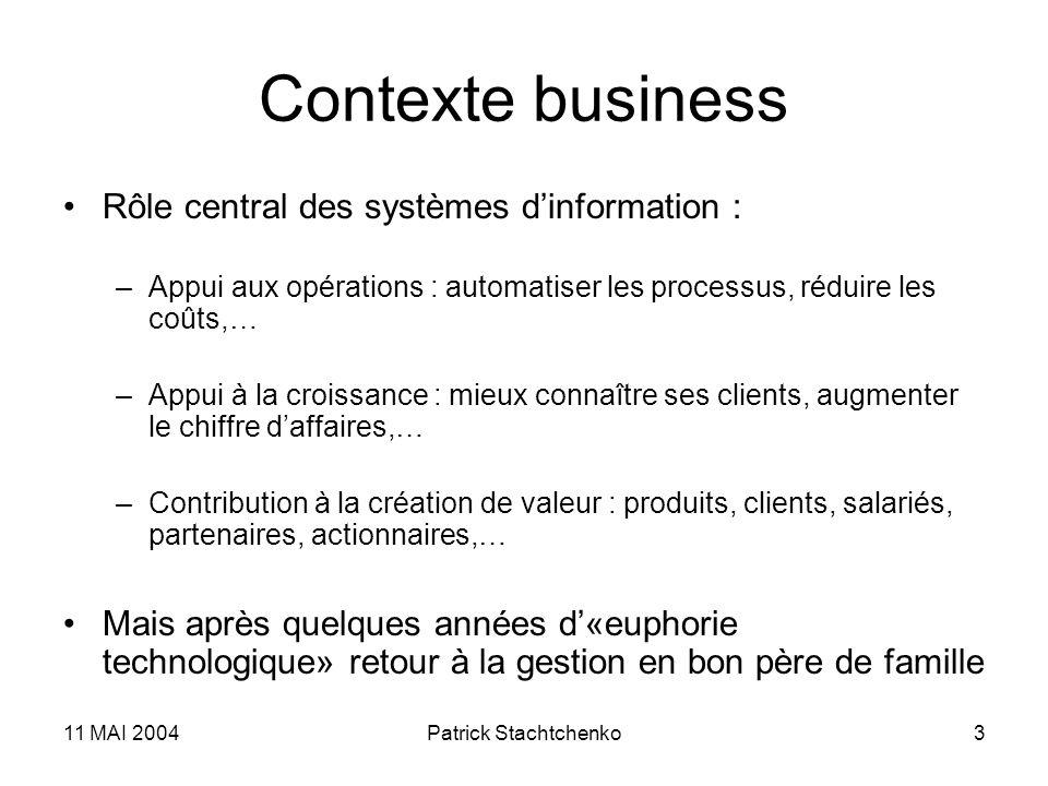 Contexte business Rôle central des systèmes d'information :