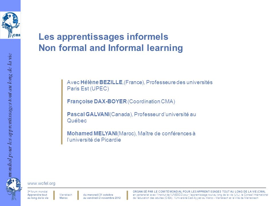Les apprentissages informels Non formal and Informal learning