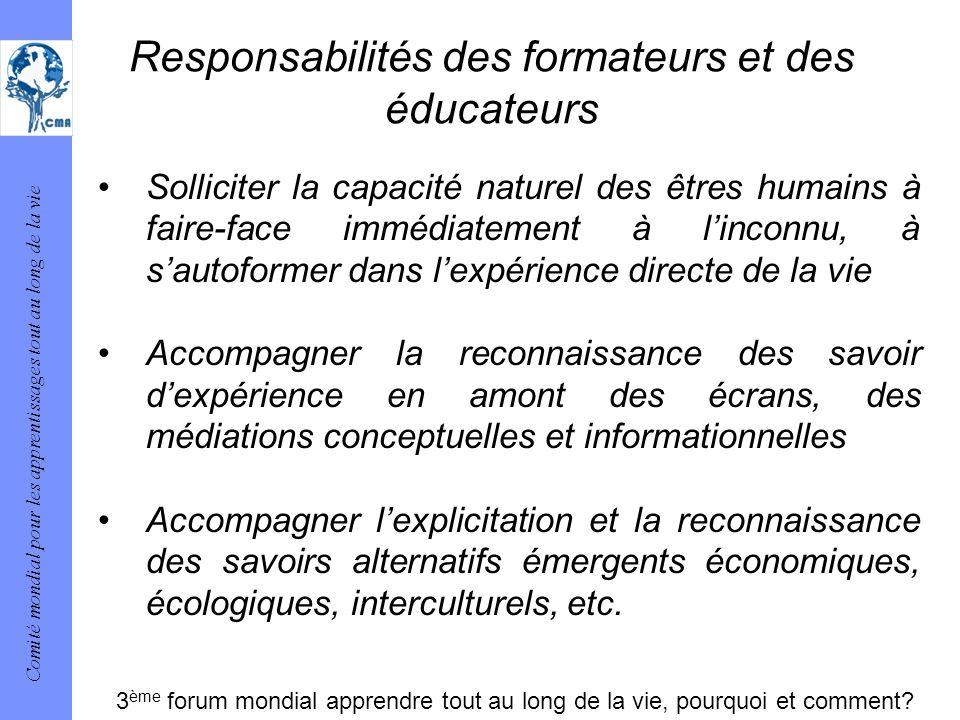 Responsabilités des formateurs et des éducateurs