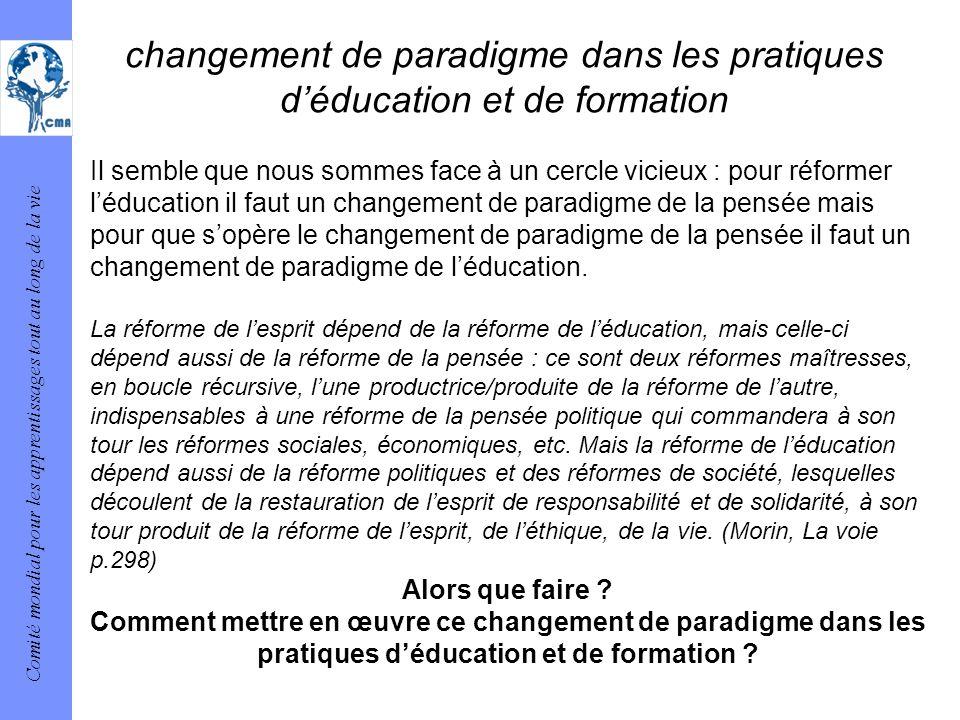 changement de paradigme dans les pratiques d'éducation et de formation