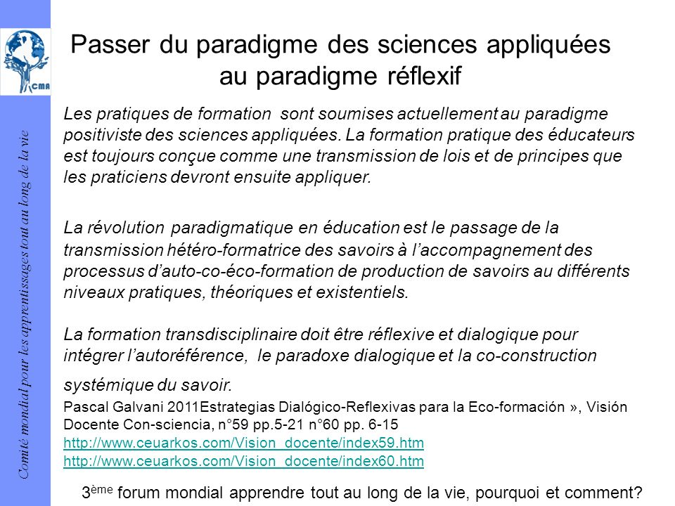 Passer du paradigme des sciences appliquées au paradigme réflexif