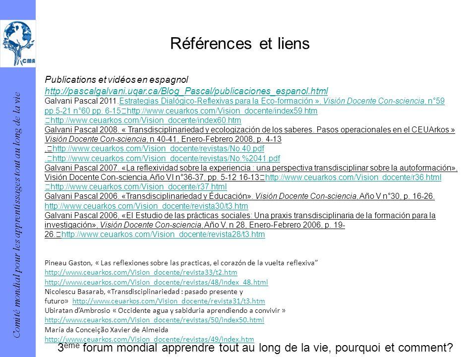 Références et liens Publications et vidéos en espagnol. http://pascalgalvani.uqar.ca/Blog_Pascal/publicaciones_espanol.html.