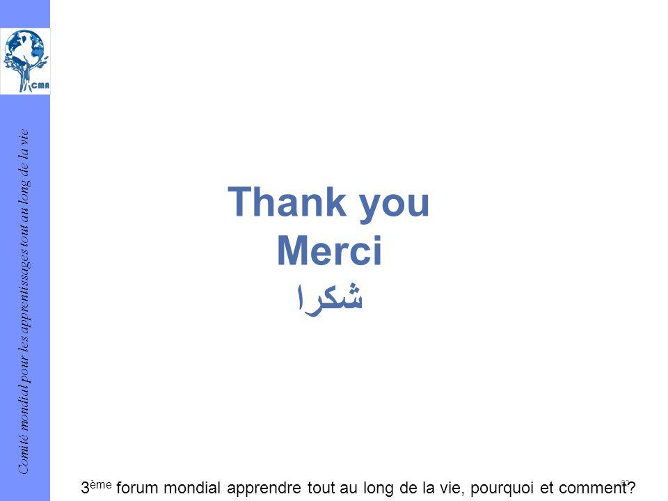 Thank you Merci شكرا 3ème forum mondial apprendre tout au long de la vie, pourquoi et comment 62