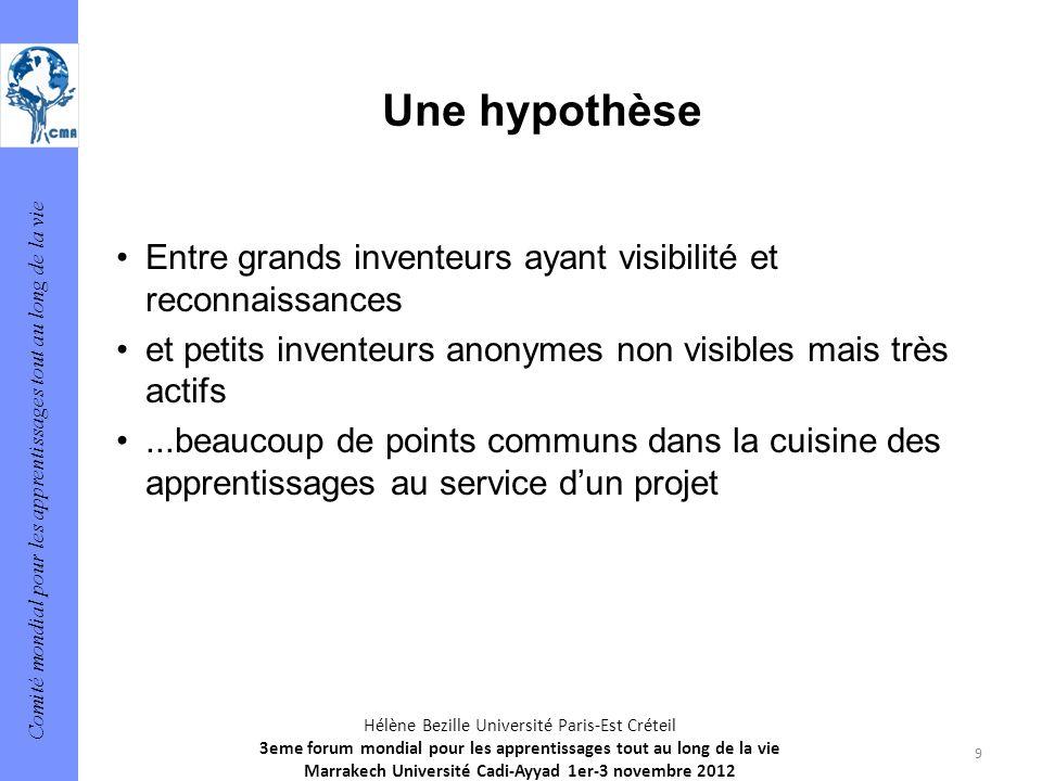 Une hypothèse Entre grands inventeurs ayant visibilité et reconnaissances. et petits inventeurs anonymes non visibles mais très actifs.