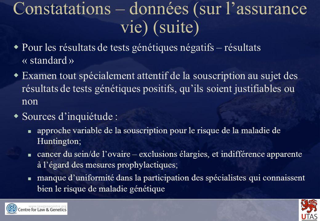 Constatations – données (sur l'assurance vie) (suite)