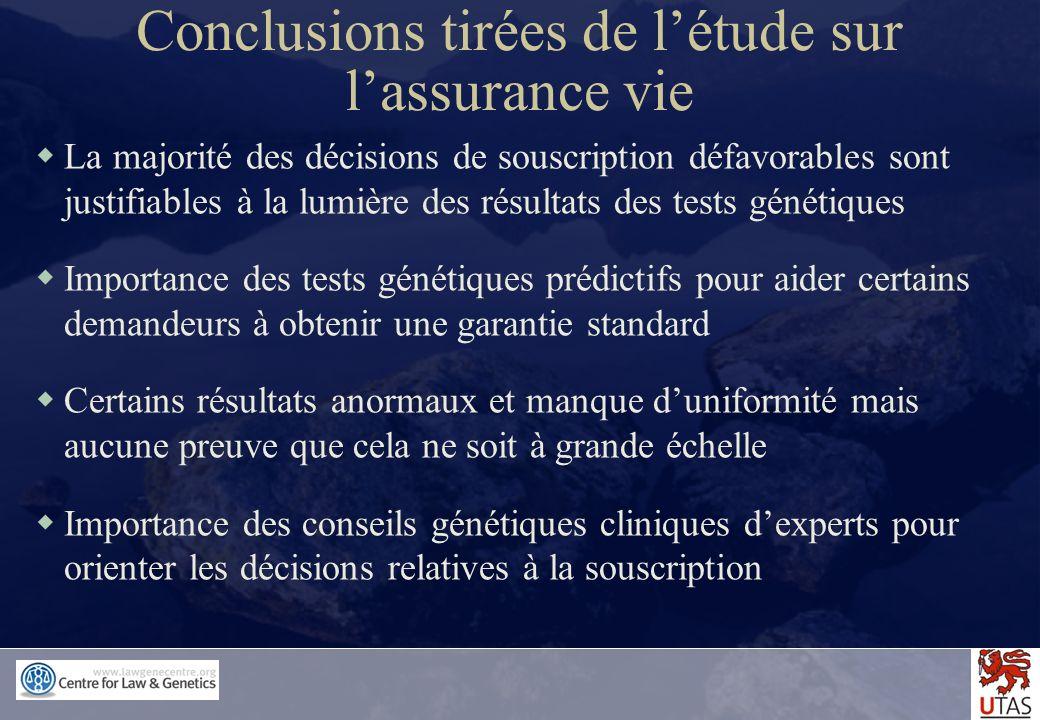 Conclusions tirées de l'étude sur l'assurance vie