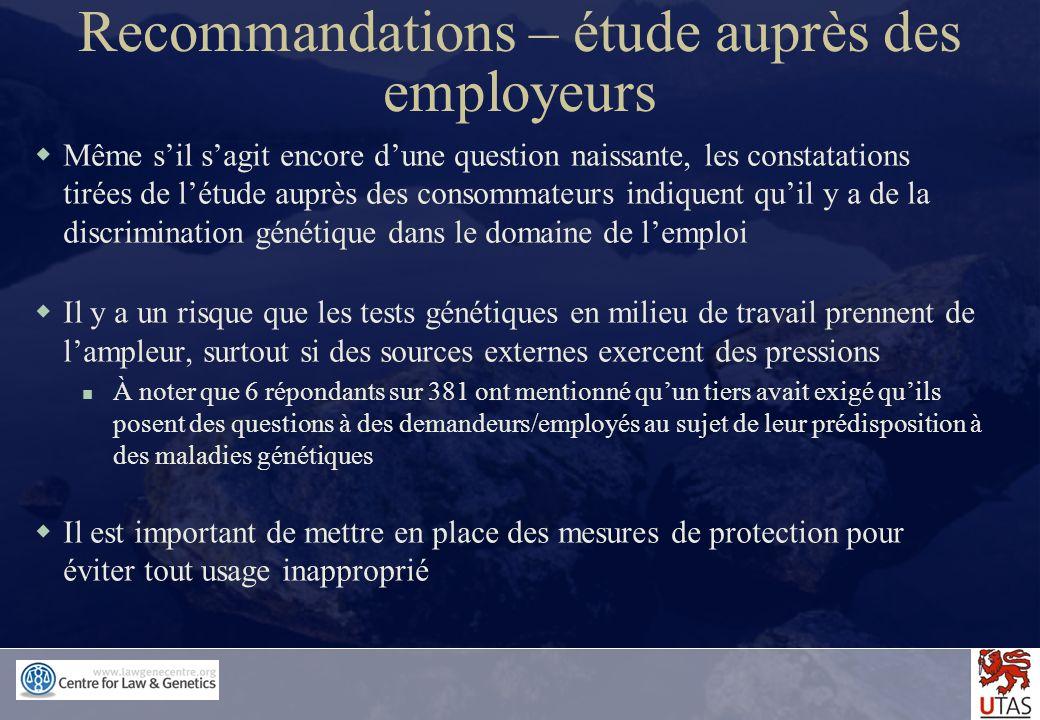 Recommandations – étude auprès des employeurs