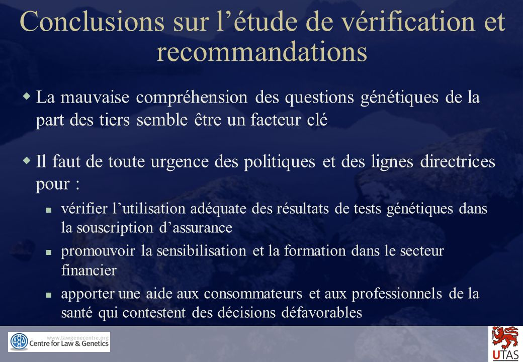 Conclusions sur l'étude de vérification et recommandations