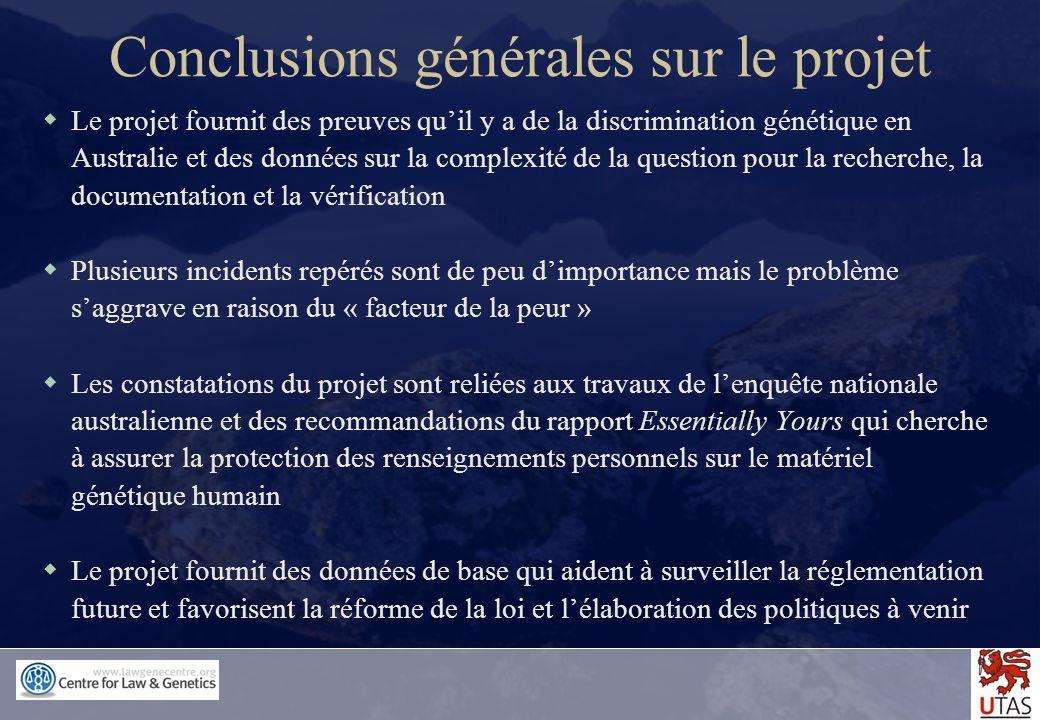 Conclusions générales sur le projet