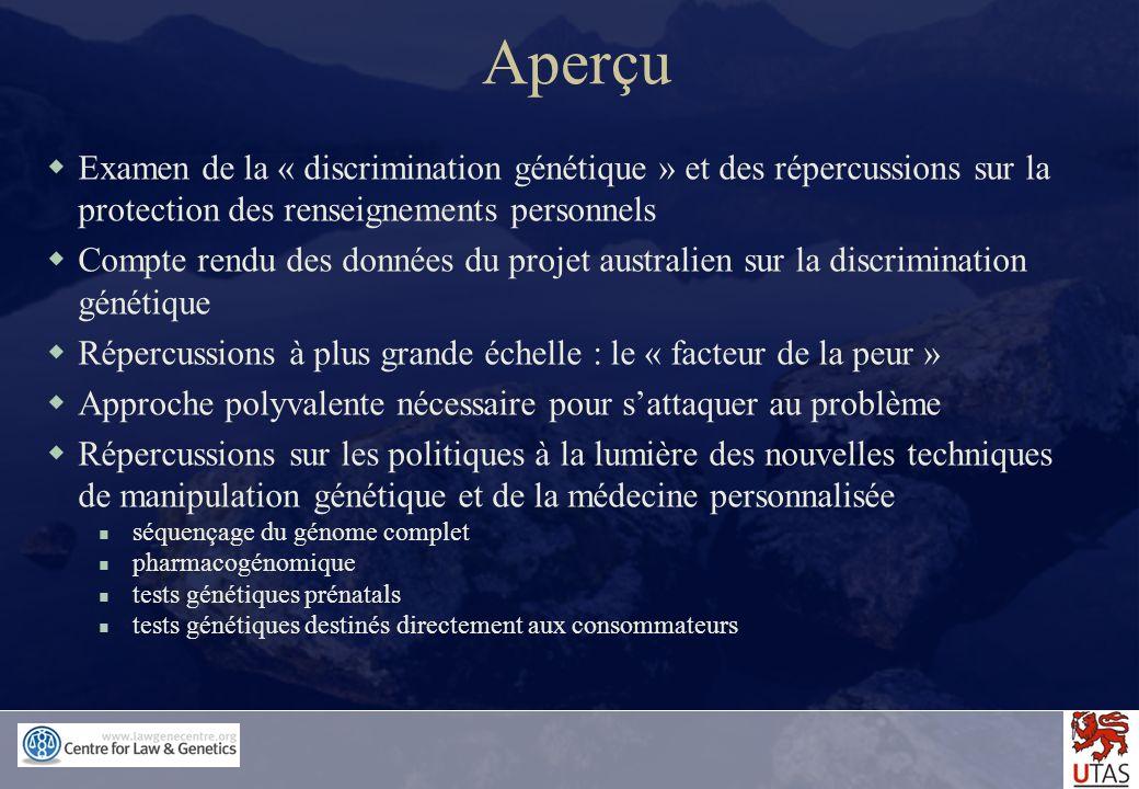 Aperçu Examen de la « discrimination génétique » et des répercussions sur la protection des renseignements personnels.