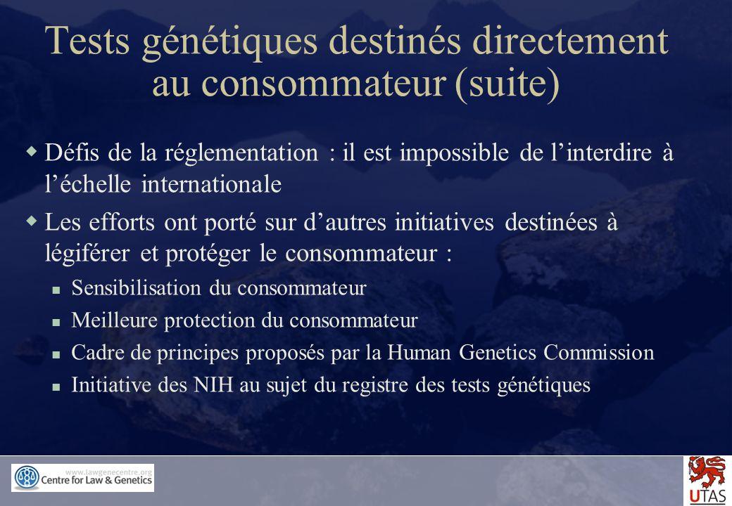 Tests génétiques destinés directement au consommateur (suite)
