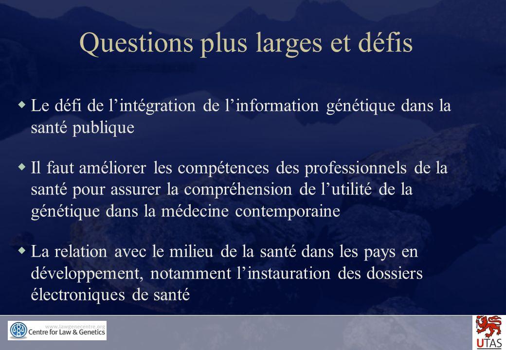 Questions plus larges et défis