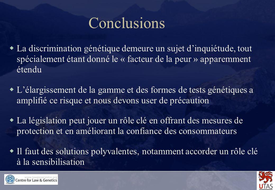 Conclusions La discrimination génétique demeure un sujet d'inquiétude, tout spécialement étant donné le « facteur de la peur » apparemment étendu.