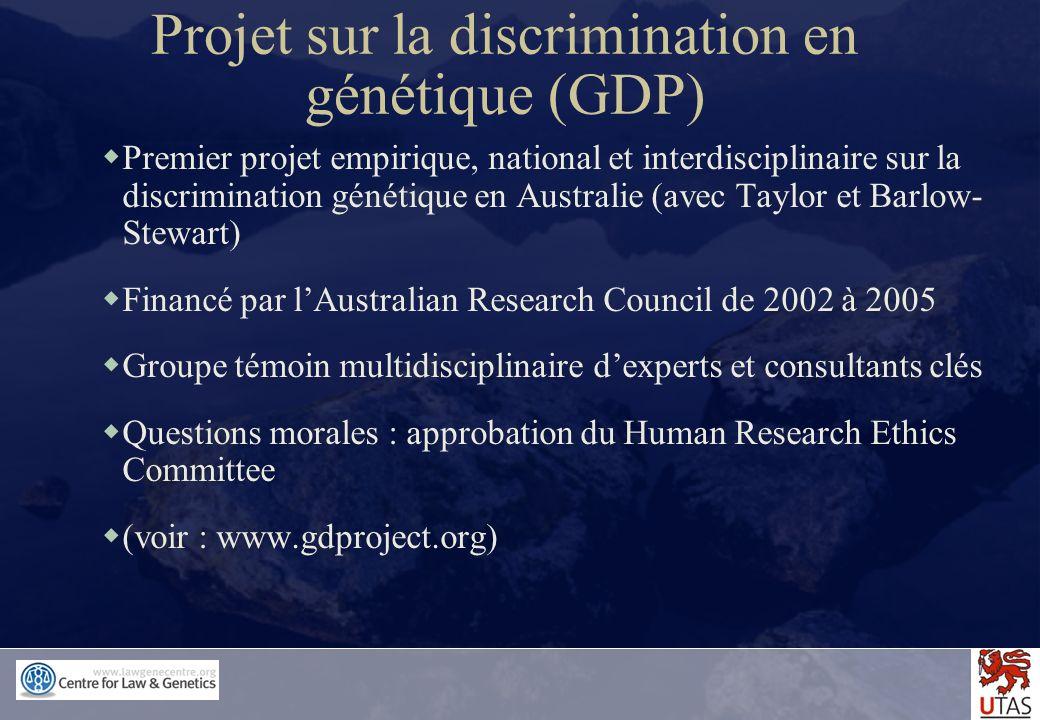 Projet sur la discrimination en génétique (GDP)