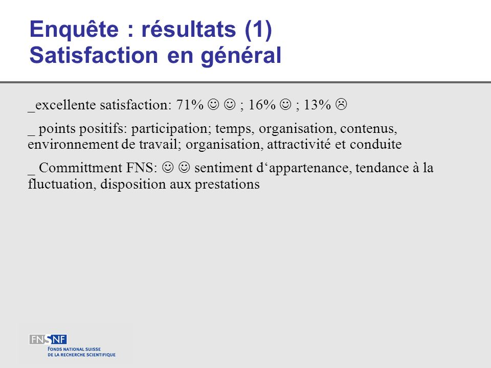 Enquête : résultats (1) Satisfaction en général