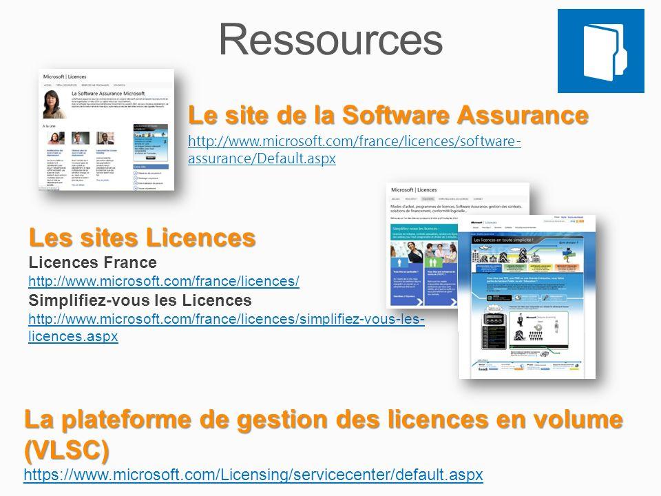 Ressources Le site de la Software Assurance Les sites Licences