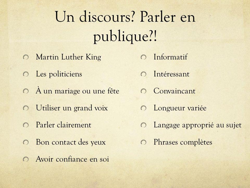 Un discours Parler en publique !