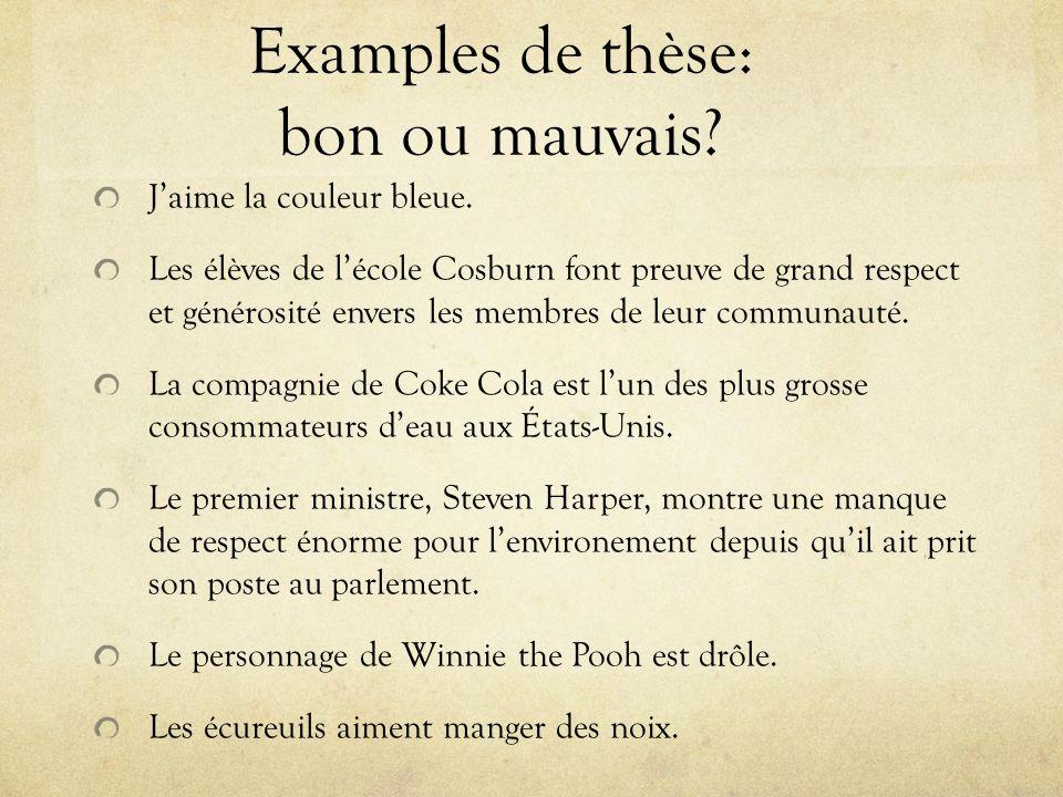 Examples de thèse: bon ou mauvais