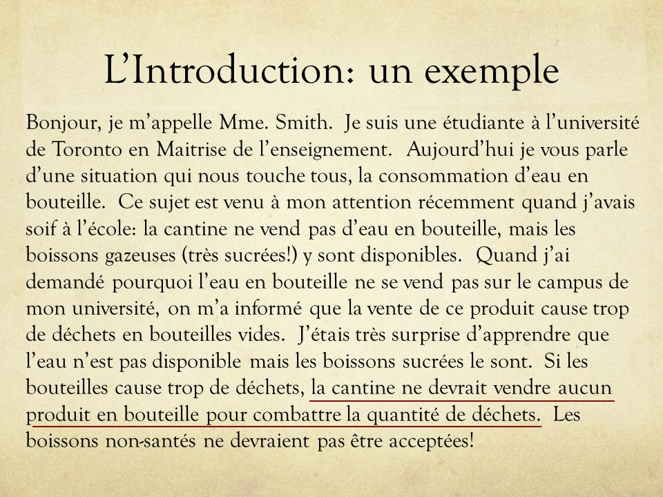 L'Introduction: un exemple