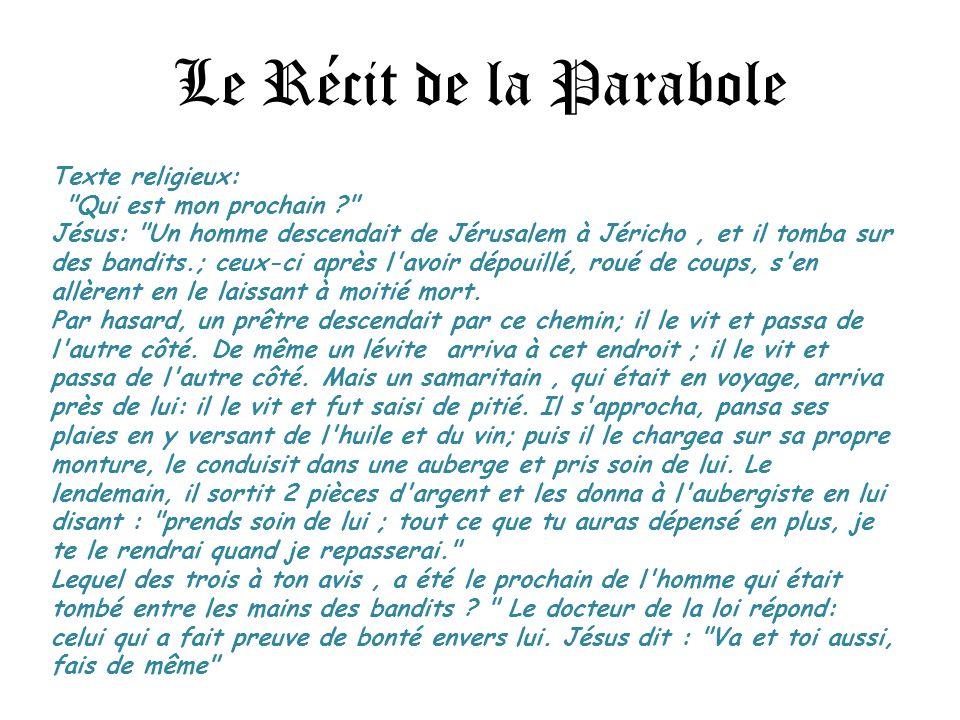 Le Récit de la Parabole Texte religieux: Qui est mon prochain