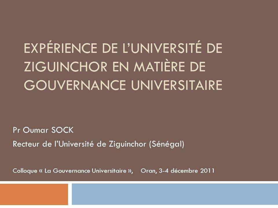Expérience de l'Université de Ziguinchor en matière de Gouvernance universitaire