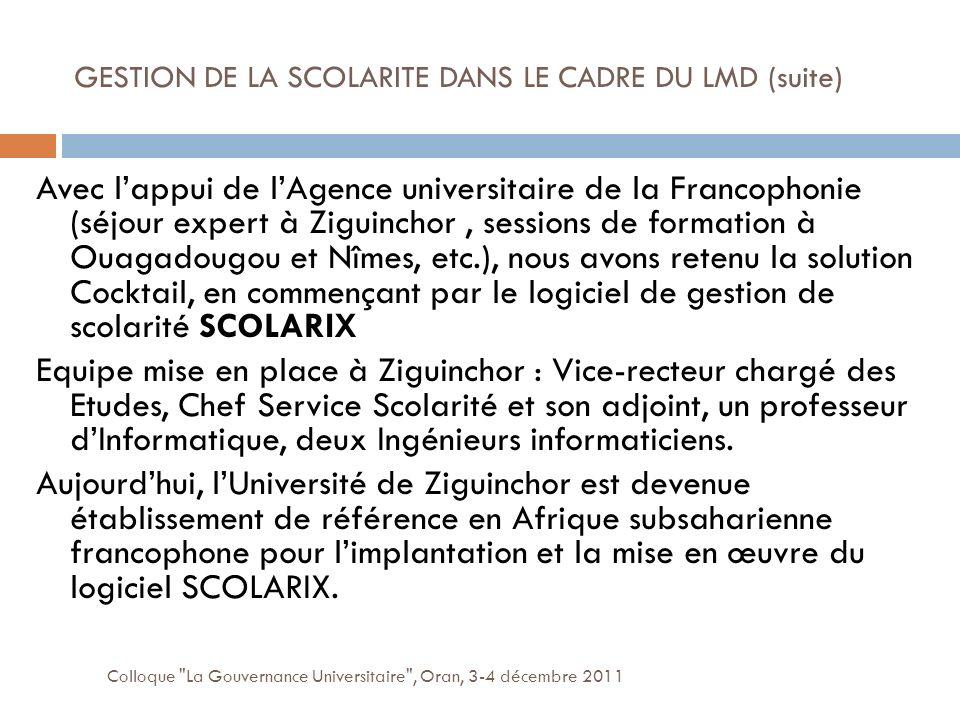 GESTION DE LA SCOLARITE DANS LE CADRE DU LMD (suite)